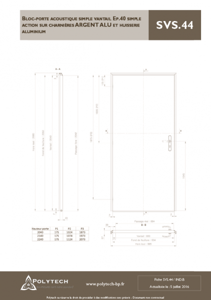 Bloc porte acoustique invisible simple vantail for Bloc porte ei30
