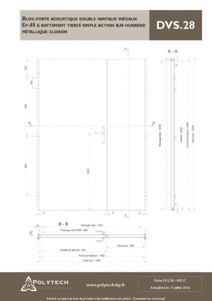 bloc porte acoustique double vantaux in gaux battement tierc simple action sur. Black Bedroom Furniture Sets. Home Design Ideas