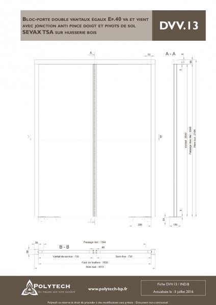 bloc porte double vantaux gaux va et vient avec jonction anti pince doigt et pivots de. Black Bedroom Furniture Sets. Home Design Ideas