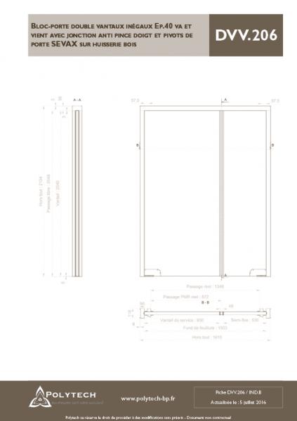 bloc porte double vantaux in gaux va et vient avec. Black Bedroom Furniture Sets. Home Design Ideas