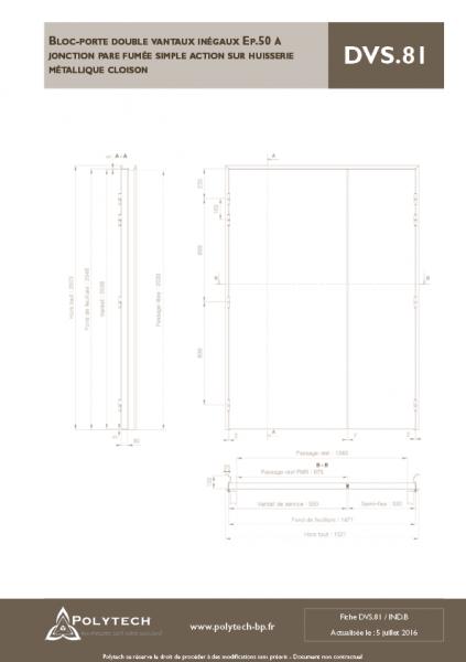 bloc porte double vantaux in gaux jonction pare fum e simple action sur huisserie. Black Bedroom Furniture Sets. Home Design Ideas