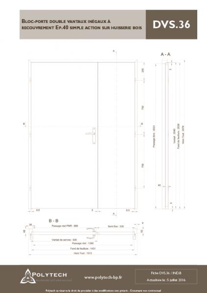 bloc porte double vantaux in gaux recouvrement simple action sur huisserie bois polytech. Black Bedroom Furniture Sets. Home Design Ideas