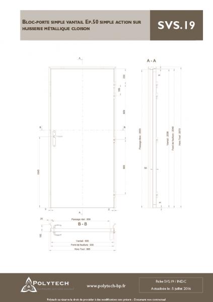 bloc porte simple vantail simple action sur huisserie m tallique cloison polytech polytech. Black Bedroom Furniture Sets. Home Design Ideas